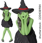 Vector Green Witch Woman With...