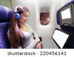 plane passenger in airplane... | Shutterstock . vector #220456141