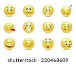 set of beauty pensive smiles...   Shutterstock .eps vector #220468609