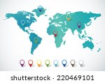 abstract world map with pin... | Shutterstock .eps vector #220469101