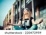beautiful success aviator woman ... | Shutterstock . vector #220472959