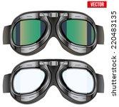 retro aviator pilot glasses... | Shutterstock .eps vector #220483135