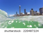 clear waves rolling on surfers... | Shutterstock . vector #220487224