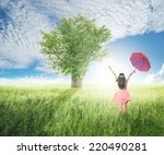 beautiful woman holding red... | Shutterstock . vector #220490281