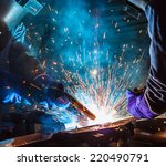 team work welder steel in... | Shutterstock . vector #220490791