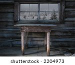 An Old Table Sits In Front Of ...