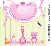 baby shower card with toys. | Shutterstock . vector #220503979