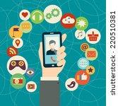 mobile applications concept. ... | Shutterstock .eps vector #220510381