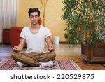 young man meditating on his... | Shutterstock . vector #220529875