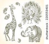tribal doodle animal set   Shutterstock .eps vector #220553401
