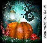 magical background with pumpkin ... | Shutterstock . vector #220563721