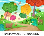 family of animals in the wood.... | Shutterstock .eps vector #220564837