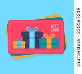 vector gift card in flat style  ... | Shutterstock .eps vector #220567219