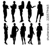 business woman silhouettes.... | Shutterstock . vector #220579465