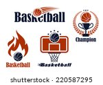 Basketball sport team emblems and symbols in retro style for sporting design