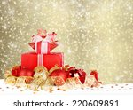 christmas gifts and balls with... | Shutterstock . vector #220609891