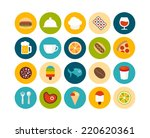 flat icons set 6   food and... | Shutterstock . vector #220620361