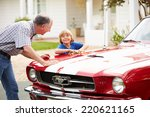 grandfather and grandson... | Shutterstock . vector #220621165