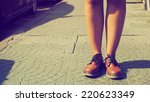 girl leg with vintage shoe in... | Shutterstock . vector #220623349