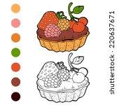 coloring book  cake  | Shutterstock .eps vector #220637671