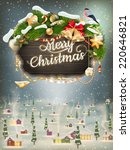 wooden banner with christmas... | Shutterstock .eps vector #220646821