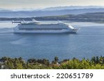 cruise ship coming in the port... | Shutterstock . vector #220651789