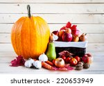Autumn Harvest Of Fruits And...