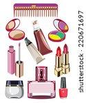 set of cosmetics powder shadow... | Shutterstock . vector #220671697