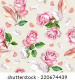 rose flowers  feathers and... | Shutterstock . vector #220674439