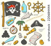 cartoon pirate vector set. | Shutterstock .eps vector #220684444
