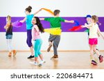 children dancing modern group... | Shutterstock . vector #220684471