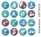 water sports white icons set... | Shutterstock .eps vector #220716115