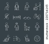 disabled people outline icons... | Shutterstock .eps vector #220716145