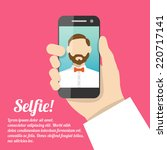 selfie poster with man holding... | Shutterstock .eps vector #220717141