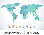 abstract world map with dots... | Shutterstock .eps vector #220719037