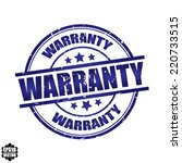 warranty rubber stamp with blue ... | Shutterstock .eps vector #220733515