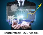 businessman pressing high tech... | Shutterstock . vector #220736581