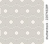 Vector seamless pattern. Modern stylish texture. Repeating geometric background with linear hexagons | Shutterstock vector #220743289