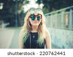 beautiful young blonde hair... | Shutterstock . vector #220762441