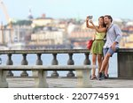 europe travel. romantic couple... | Shutterstock . vector #220774591