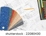 blueprint and colorful samples... | Shutterstock . vector #22080430