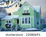 Victorian House At Sunrise Wit...