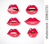 sexy lips set  cartoon flat... | Shutterstock .eps vector #220812721