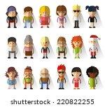 set of vector cute character... | Shutterstock .eps vector #220822255