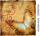 vintage abstraction with butterfly - stock photo