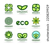 icons of organic products and... | Shutterstock .eps vector #220829929