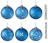 christmas set isolated blue... | Shutterstock .eps vector #220842397