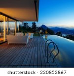 modern house with pool and... | Shutterstock . vector #220852867