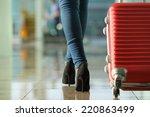 traveler woman legs walking... | Shutterstock . vector #220863499