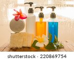 body care product and glass... | Shutterstock . vector #220869754